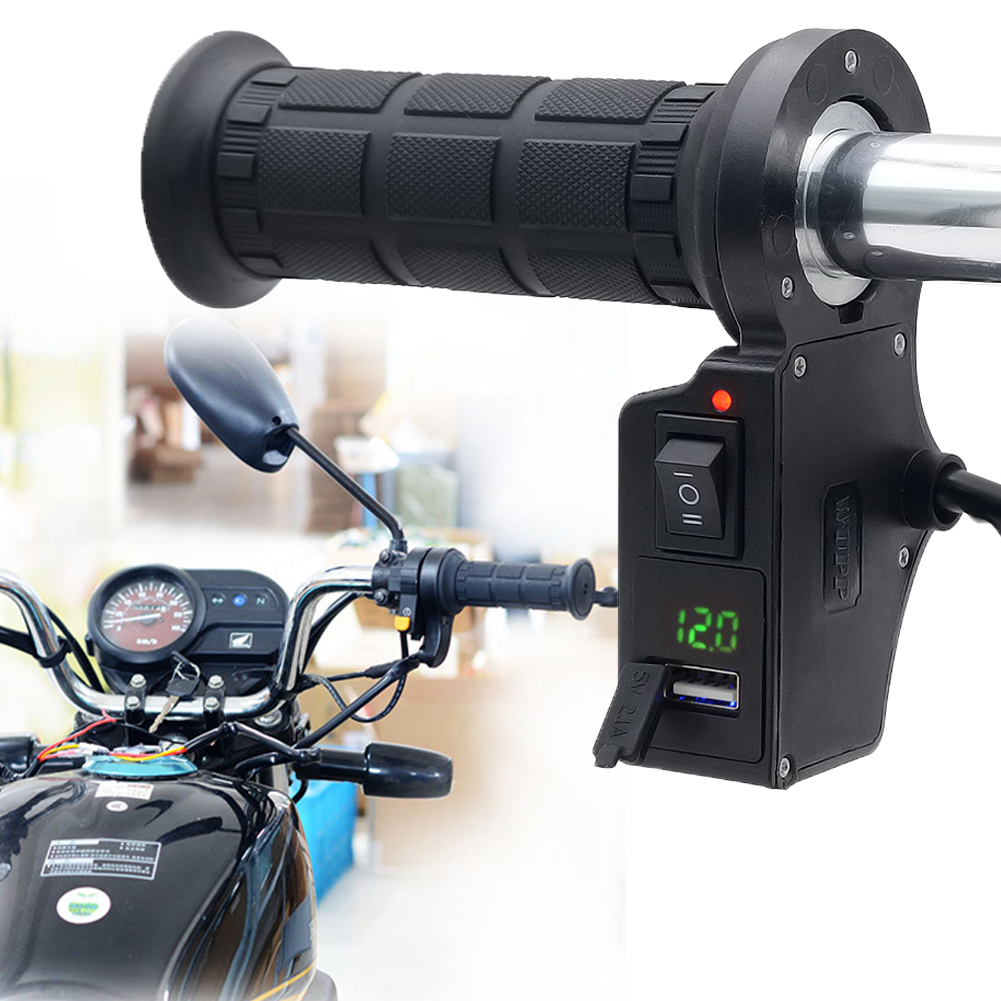 QILEJVS 3in1 Motorcycle Handlebar Electric Hot Heated Grips Handle +Voltage +USB Charger