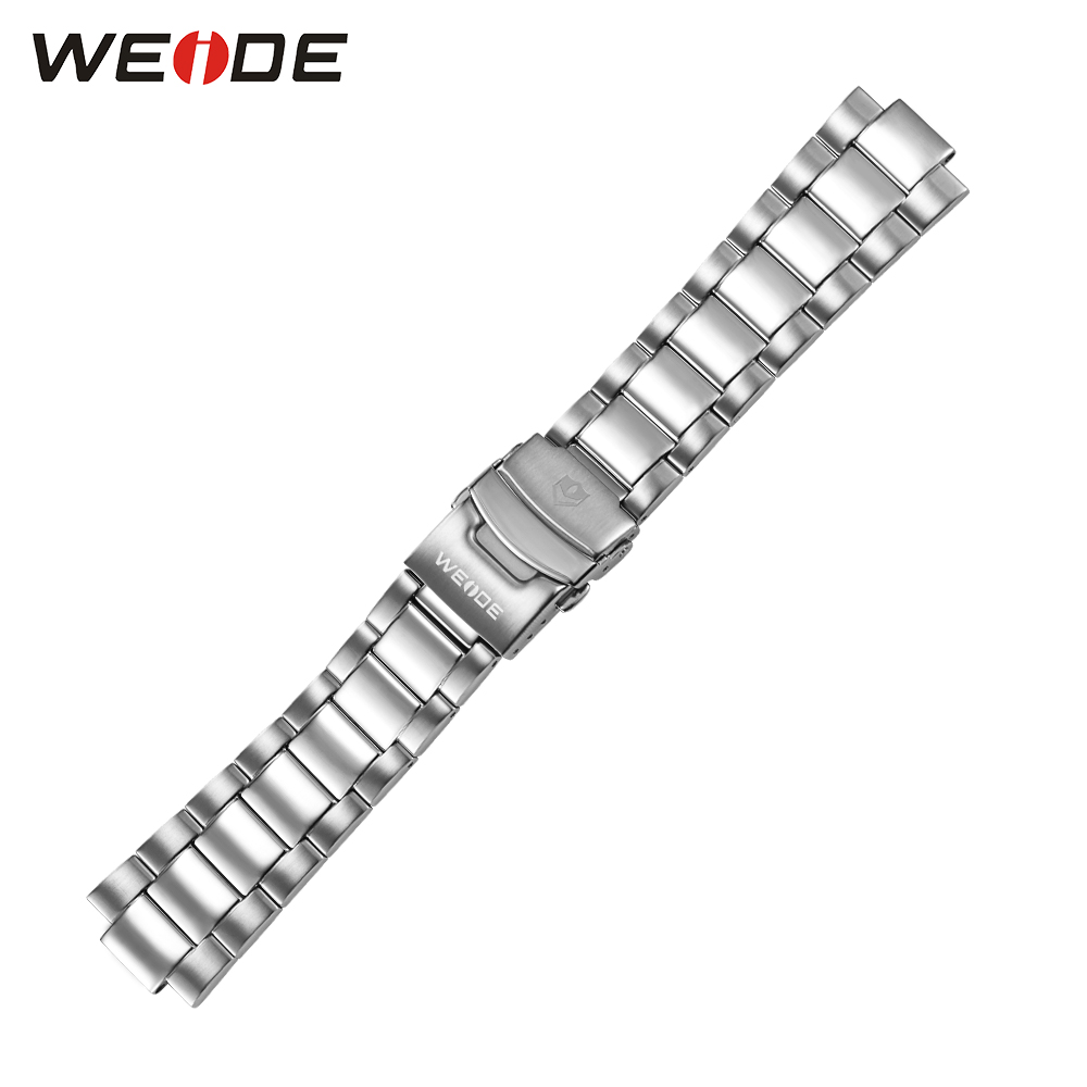 WEIDE Luxury Men Sport Watch's Band 304 Stainless Steel Watch Band Fold Over Clasp With Safety Strap Width 24mm High Quality weide 5205 men led sports watch with stainless steel band