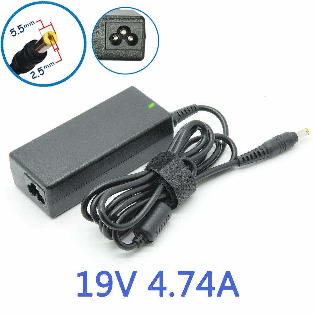 19 В 4.74a 5.5*2.5 мм Мощность AC адаптер питания для HP DV3 dv4 dv5 dv6 2500 n1050v NX9000 f4600a f4813a f5104a accom-c16 зарядное устройство