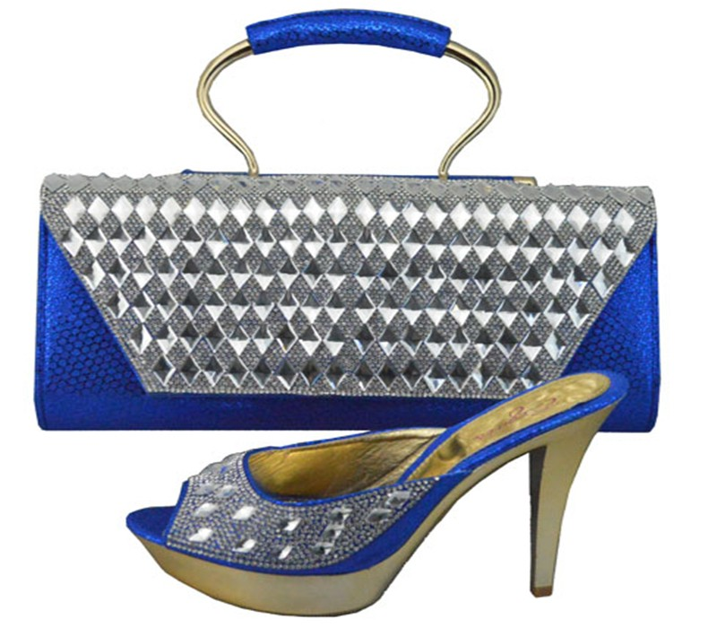 ФОТО Fashion Italian Shoe With Matching Bag Set Blue Color African Women Shoe And Bag To Match Set For Party Pumps Shoes 1308-34