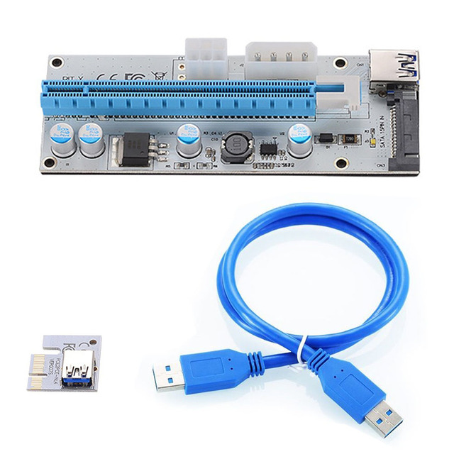10pcs VER008S 3 in 1 Molex 4Pin SATA 6PIN PCIE PCI-E PCI Express Riser Card 1x to 16x USB 3.0 Cable For Mining BTC Miner