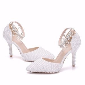 Image 4 - Crystal Queen Pointed Toe White Pearl Chain Wedding Shoes Thin Heels Party Sandals With Matching Bags With Purse Dress Shoes