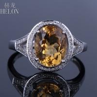 HELON 10mm x 8mm Oval Cut 2.6ct Citrine & Natural Diamonds Sold 14K White Gold Engagement Wedding Women's Jewelry Ring Gemstone