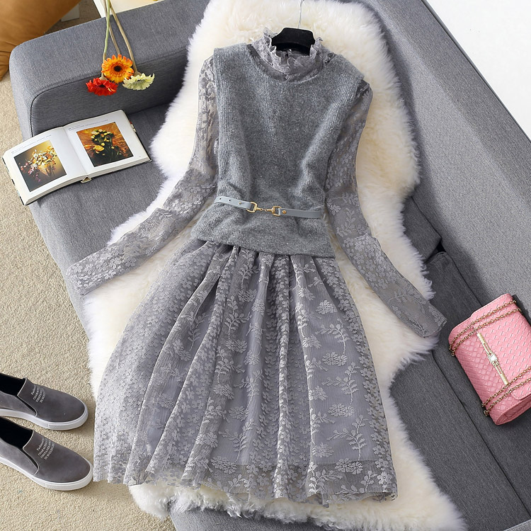 אופנה שמלת חליפת נשים תחרה רשת חלולה החוצה סקסי שמלה + לסרוג קצר אפוד 2018 סתיו החורף חדש נשי שני חתיכה שמלות סטים