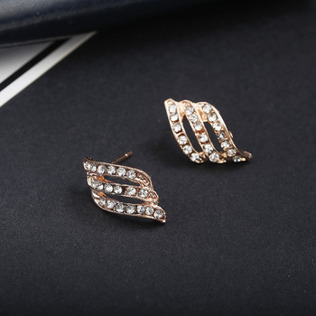 Fashion Gold Color Simple Crystal Stud Earrings Women Wedding Jewerly Bridal Earrings 3