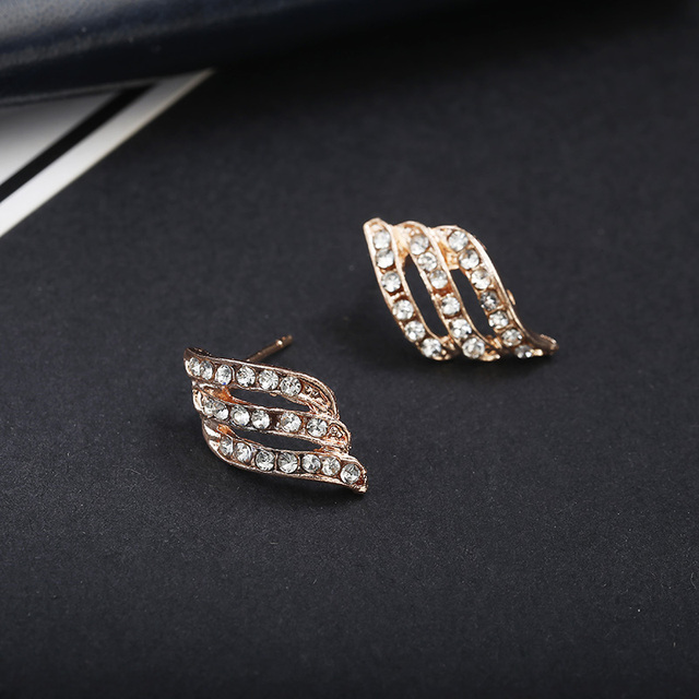 Korean Style Simple Crystal Stud Earrings  3