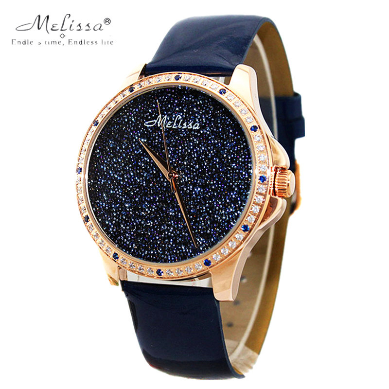Melissa Lady Women's Watch Japan Quartz Hours Fine Fashion Bracelet Bling Stars Luxury Rhinestones Leather Girl Birthday Gift