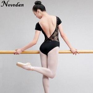 Image 4 - Leotardo para danza de Ballet para mujer adulto, traje de malla de encaje con tutú, manga corta y larga, negro