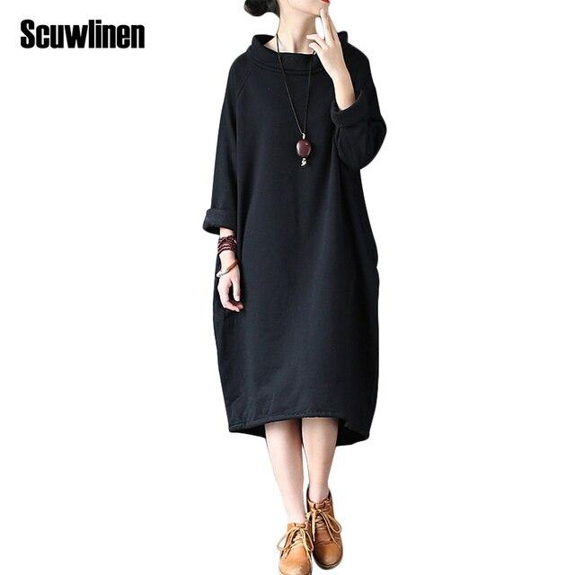 Scuwlinen 2017 Демисезонный платье 100% хлопок Женское платье vestidos свободные флисовая утепленная водолазка с длинными рукавами длинный халат S60