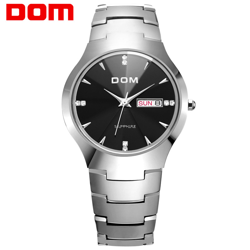 Men watch sport Luxury Top DOM Brand tungsten steel Wrist waterproof Business Quartz watches Fashion Casual W-698-1M2 dom men s business watches top brand luxury quartz watch fashion tungsten steel waterproof watch wristwatch gift w 624 1sm2
