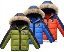 Дети мальчик Зима Ткань аксессуары для детей ребенок/подросток утка вниз парки с капюшоном Теплый лыжный Пальто спорт снег пальто куртки