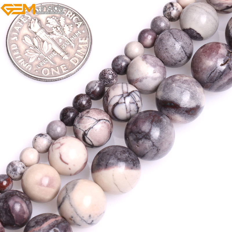 Gem-inside Natural Round Smooth Brown Porcelain Jasper Beads for Jewelry Making 15inches DIY Jewellery Christmas Gift