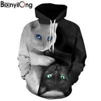 2018 3D Hoodies Men Hooded Sweatshirts Two Cat 3D Print Hoody Casual Pullovers Streetwear Tops Autumn