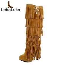f8ebe5b5769da LebaLuka rozmiar 32-43 stado futro zimowe kozaki damskie wysokie obcasy  wysokie do kolan buty Fringe frędzle moda, czarny, brązo.