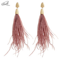 Badu Long Feather Earring Light Ostrich Vintage Christmas Jewelry Women Party Ear Accessories Fashion
