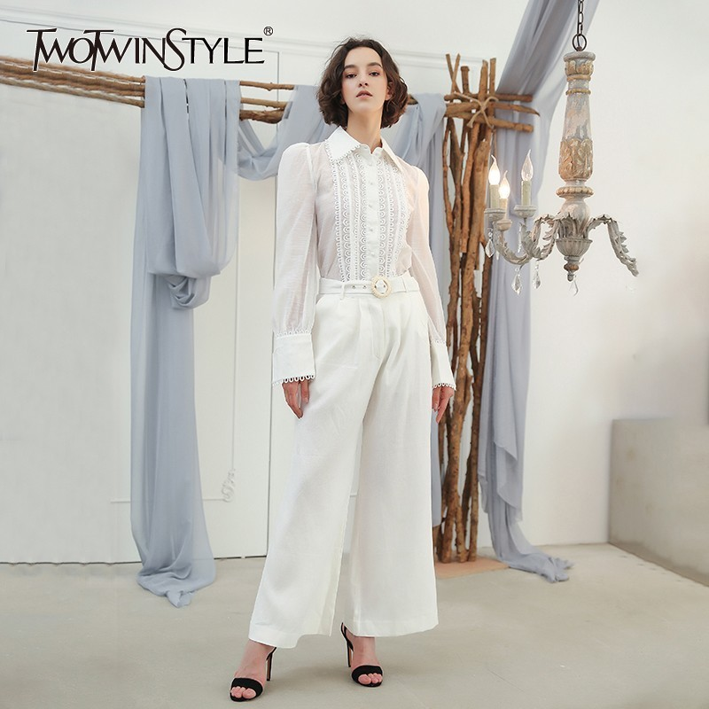 TWOTWINSTYLE Women s Pants Suit Puff Sleeve Palazzo Shirt With Sashes High  Waist Long Wide Leg Trousers Female OL Autumn Clothes-in Women s Sets from  ... 484344a032c5