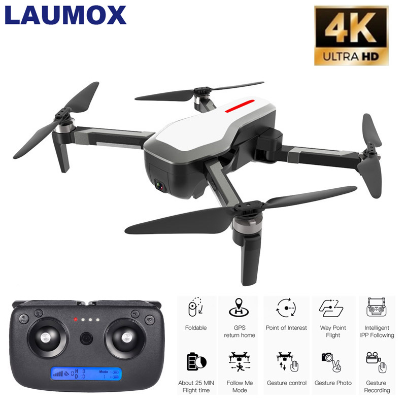 LAUMOX SG906 GPS Drone 5G WIFI FPV Brushless Selife Drone with 4K Camera Drone HD RC Quadcopter Foldable Dron VS XS816 F11 Dron