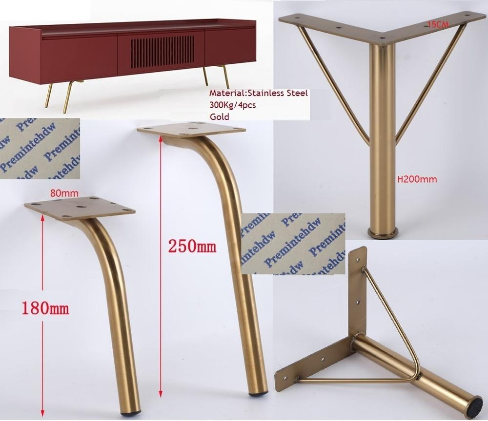 2Pcs/Lot Concise North European Stainless Steel Coffee Table Bar TV Dressing Cabinet Sofa Couch Feet Leg Gold