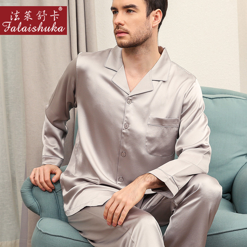 30 Momme 100% Silk Pajamas Sets Mens Sexy Noble 100% Mulberry Silk Spring Long Sleeve Pyjamas Pure Natural Silk Sleepwear Men