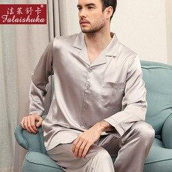 30 momme 100% zijden pyjama sets heren sexy nobele 100% moerbei zijde lente Lange mouwen pyjama pure natuurlijke zijde nachtkleding mannen