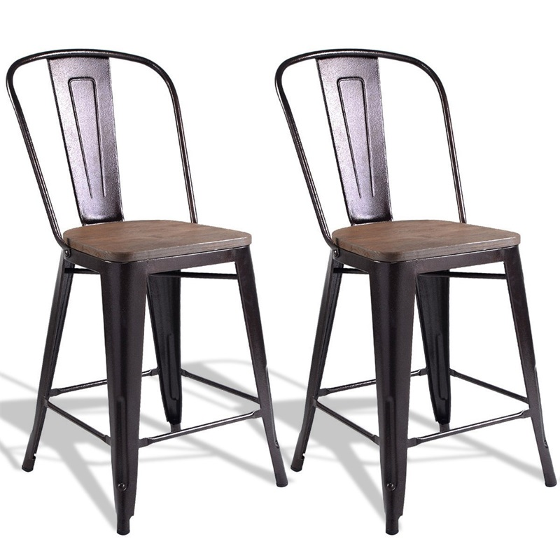 Copper Set Of 2 Metal Wood Counter Chairs Sturdy Steel Frame Heavy-duty Steel Chairs Wood Seat Dinning Room Seat