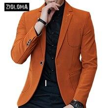 ZIOLOMA мужской модный приталенный костюм мужской деловой пиджак на одной пуговице брендовый мужской пиджак