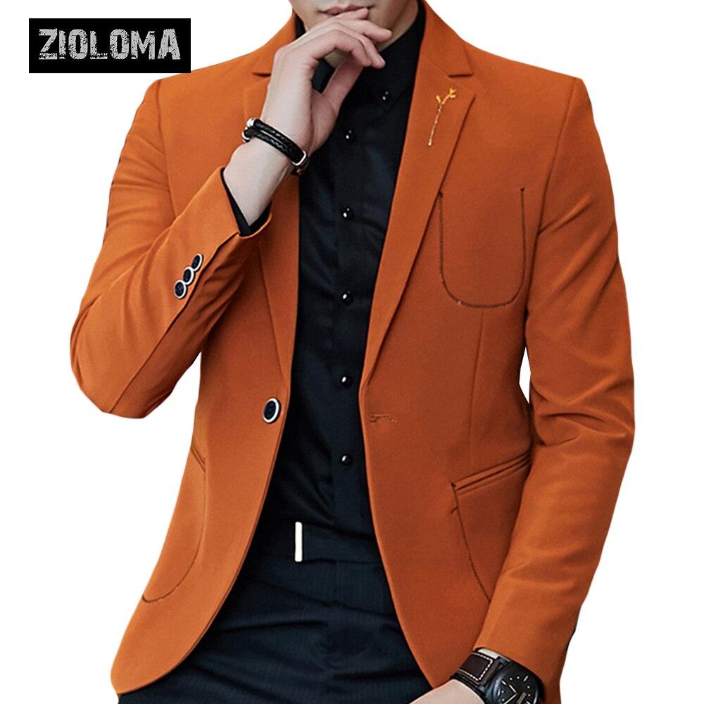 ZIOLOMA Men's Fashion Slim Suits Men's Bussiness One Button Casual Blazer Jacket 2019 Brand Male Dress Blazers