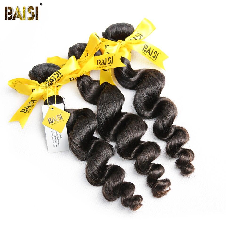 BAISI Hair Peruvian 10A Raw Virgin Hair Loose Wave Hair Extensions 100 Human Hair 3 Bundles