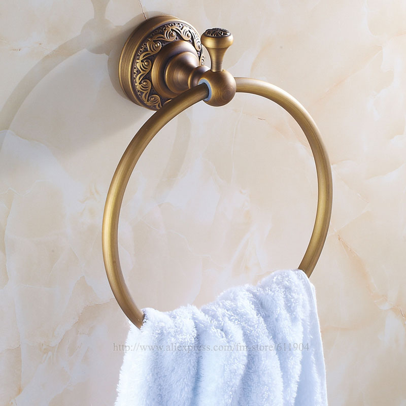 ФОТО  Towel Ring Solid Brass Bathroom Accessories Products Round Holder Antique Vintage Style 3422601