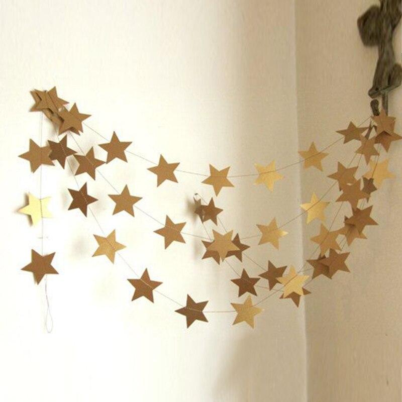 4 м Star Бумага Garland овсянка вечерние свадебные Baby Shower украшения
