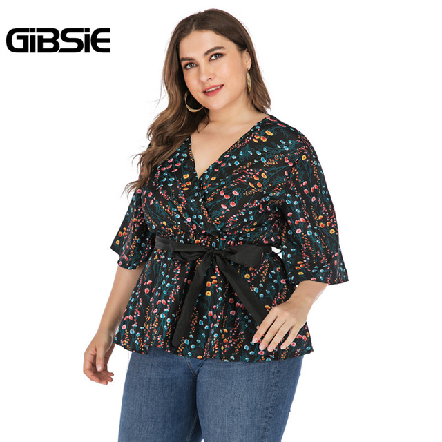 GIBSIE Plus Size Elegant Floral Print V-neck Wrap Blouse Women 2019 Summer Casual Belted Hafl Sleeve Ladies Tops and Blouses 5