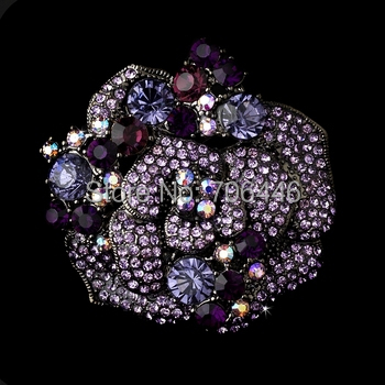 2 Elegant Lilac Rhinestone Crystal Floral Brooch Beautiful Rose Floral Wedding Bouquet Party Pins