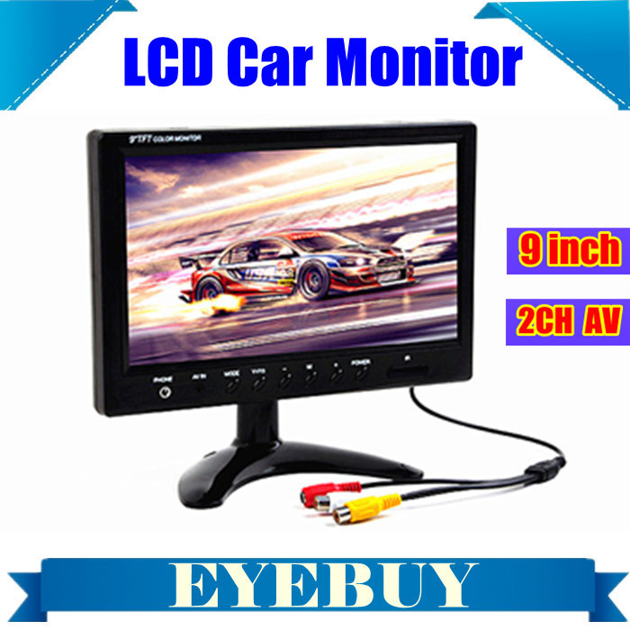 9 TFT LCD display color Car Auto automotive Monitor 2 video input for Car Truck Bus