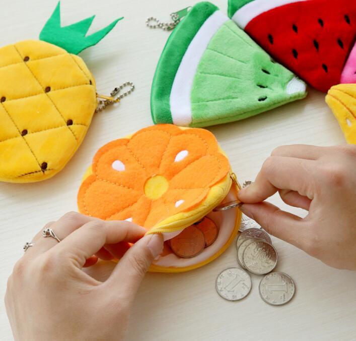 500PCS Summer Fruits storage bag Lemon Watermelon Etc Plush Toy Pocket storage bag keychain coin key