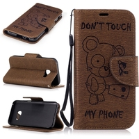 For Samsung Galaxy J3 2017 Luxury Wallet PU Business Leather Case Pouch Shell Cover Bear Print Carcasa Capa Fundas Coque Case