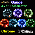 "95mm 3.75 Inch Tachometer Chrome for 7 LED Colors Adjustable 12V Car Gauge 3 3/4"" Meter 0-8000 RPM TAC Shift-Light"