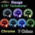 """95mm 3.75 Pulgadas Tacómetro Chrome para 7 Colores LED Ajustable 12 V Car Gauge 3 3/4 """"0-8000 RPM TAC-Shift Light"""