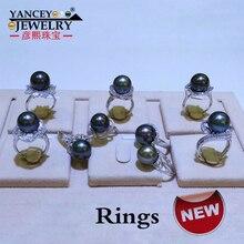 YANCEY Original design 11-12MM Tahitian seawater black pearl ring s925 sterling silver, retro temperament