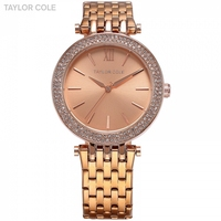 TAYLOR COLE Women Rose Gold Watches Fashion Lady Bracelet Clock Montre Femme Rhinestone Crystal Case Quartz Wrist Watch /TC002