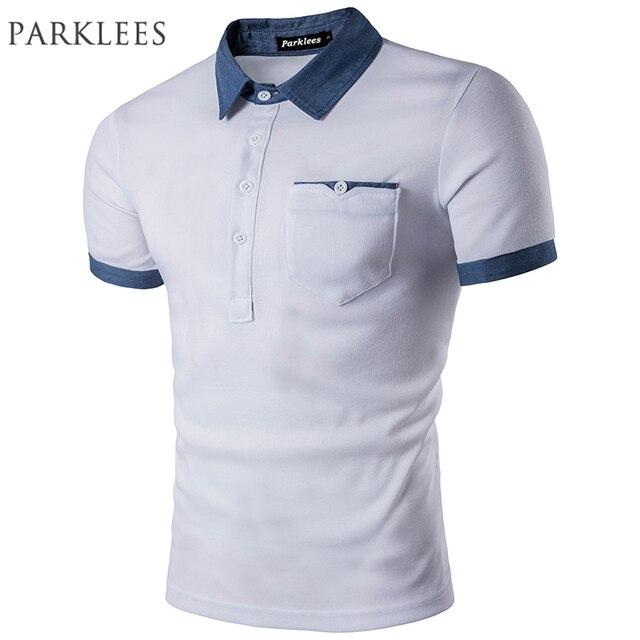 a22b2ab11db Короткий рукав белый Футболки-поло для мужчин Для мужчин 2017 Для мужчин  модные джинсовым воротником