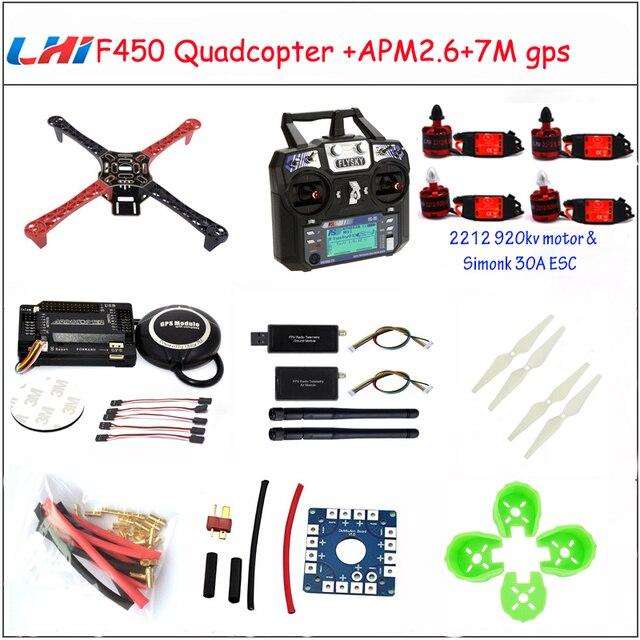 LHI F450 Quadcopter Rack Kits Frame APM2.6 and 6M 7M 8M GPS 2212 920KV simonk 30A 9443 props drone kit to assemble drones