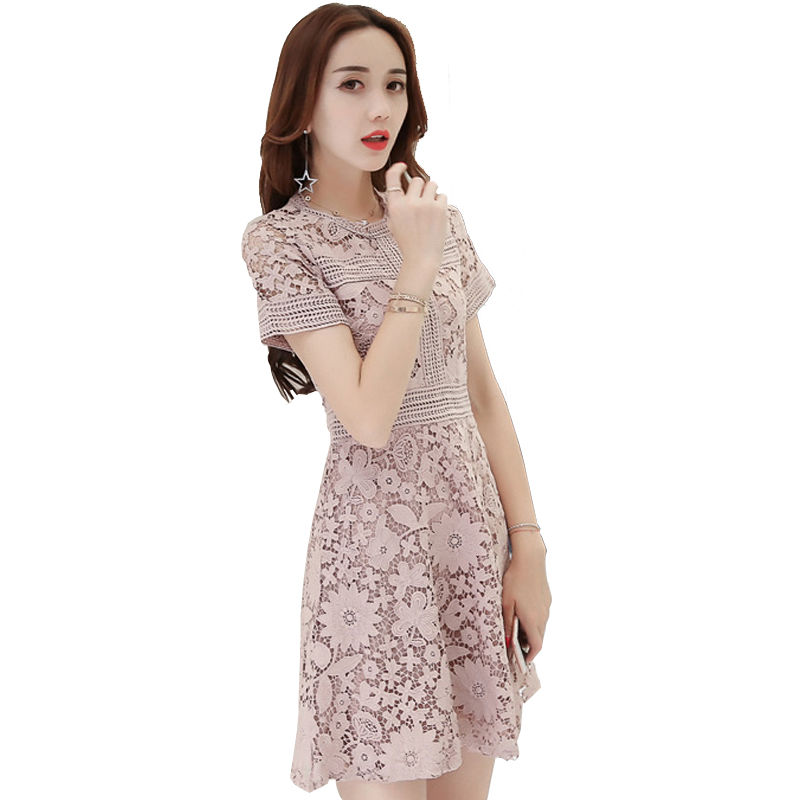 e7bb549e81 Summer 2018 Cute Lace Dress Girls Slim Crochet Lace Short Sleeve Mini A  Line Dress Sweet Party Dresses Sommer Kleid