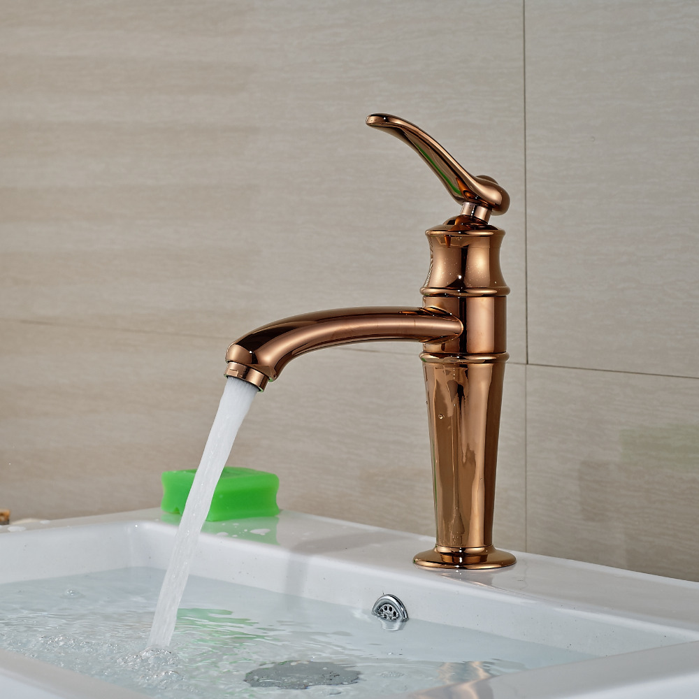 Solid Brass Rose Golden Bathroom Basin Faucet Vanity Sink Mixer Tap Deck Mounted Cold Hot Mixer