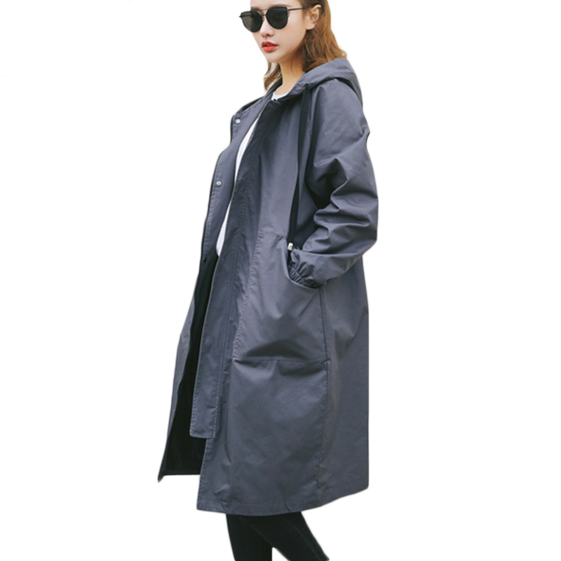 2018 autumn new Women long style   trench   coat thin solid outwear casual hooded loose long sleeve coat female   trench   QW160