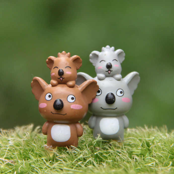 2 pcs/set Cute Koala Action Figure Animiation Gauden Miniature Resin Craft Decoration Model Micro Landscape Kids Toy Gift