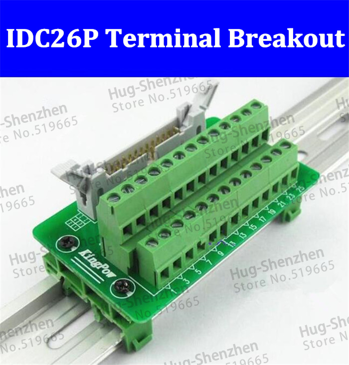 IDC26P IDC 26 Pin Male Connector to 26P Terminal Block Breakout Board Adapter PLC Relay Terminals DIN Rail Mounting Shell--1pcs 1756 tbch ab plc module controllogix 36 pin terminal block