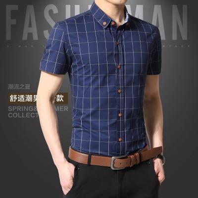 Новинка мужские Рубашки повседневные брендовые приталенные дизайнерские клетчатые рубашки с коротким рукавом мужские s одежда тренд социальные мужские s офисные рубашки 5XL - Цвет: Dark Blue