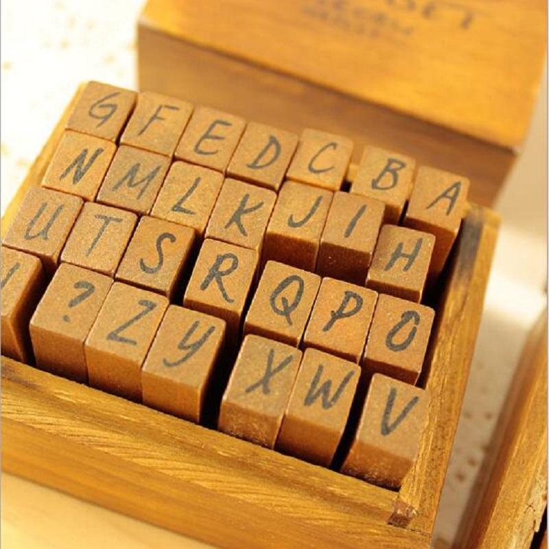 WSP720 28pcs/pack alphabet Korean Style Retro Zakka Wooden Rubber Stamp for DIY Scrapbook DIY Photo Album Cards