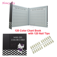 1 pc Professional 120 Colors Lovely Nail Gel Polish Display Card Book Chart with Tips Nail Art Salon Set