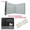 1 unid Pantalla Esmalte de Uñas de Gel Profesional 120 Colores Encantadores Libro Tarjeta Gráfica con Tips Nail Art Salon Set